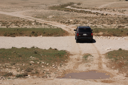 Crossing a dry wadi
